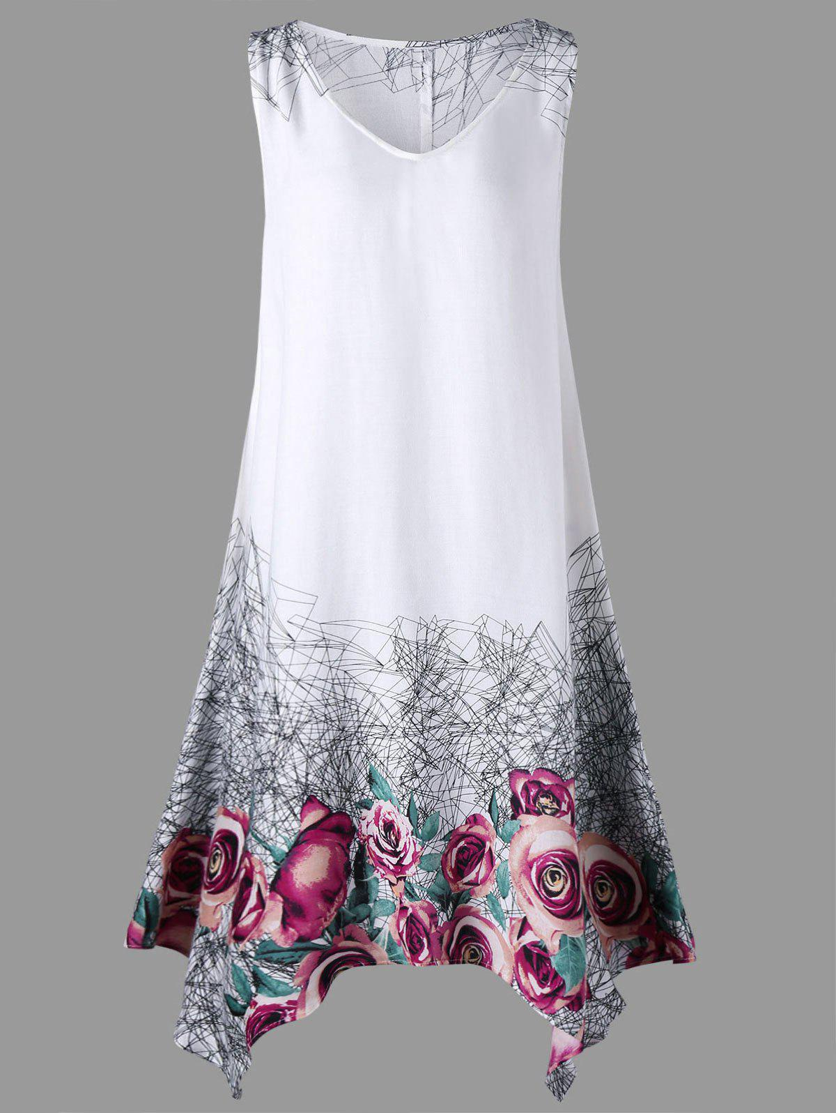 Floral Plus Size Handkerchief Tank DressWOMEN<br><br>Size: XL; Color: WHITE; Style: Casual; Material: Rayon; Silhouette: A-Line; Dresses Length: Mini; Neckline: V-Neck; Sleeve Length: Sleeveless; Pattern Type: Floral; With Belt: No; Season: Summer; Weight: 0.2000kg; Package Contents: 1 x Dress;