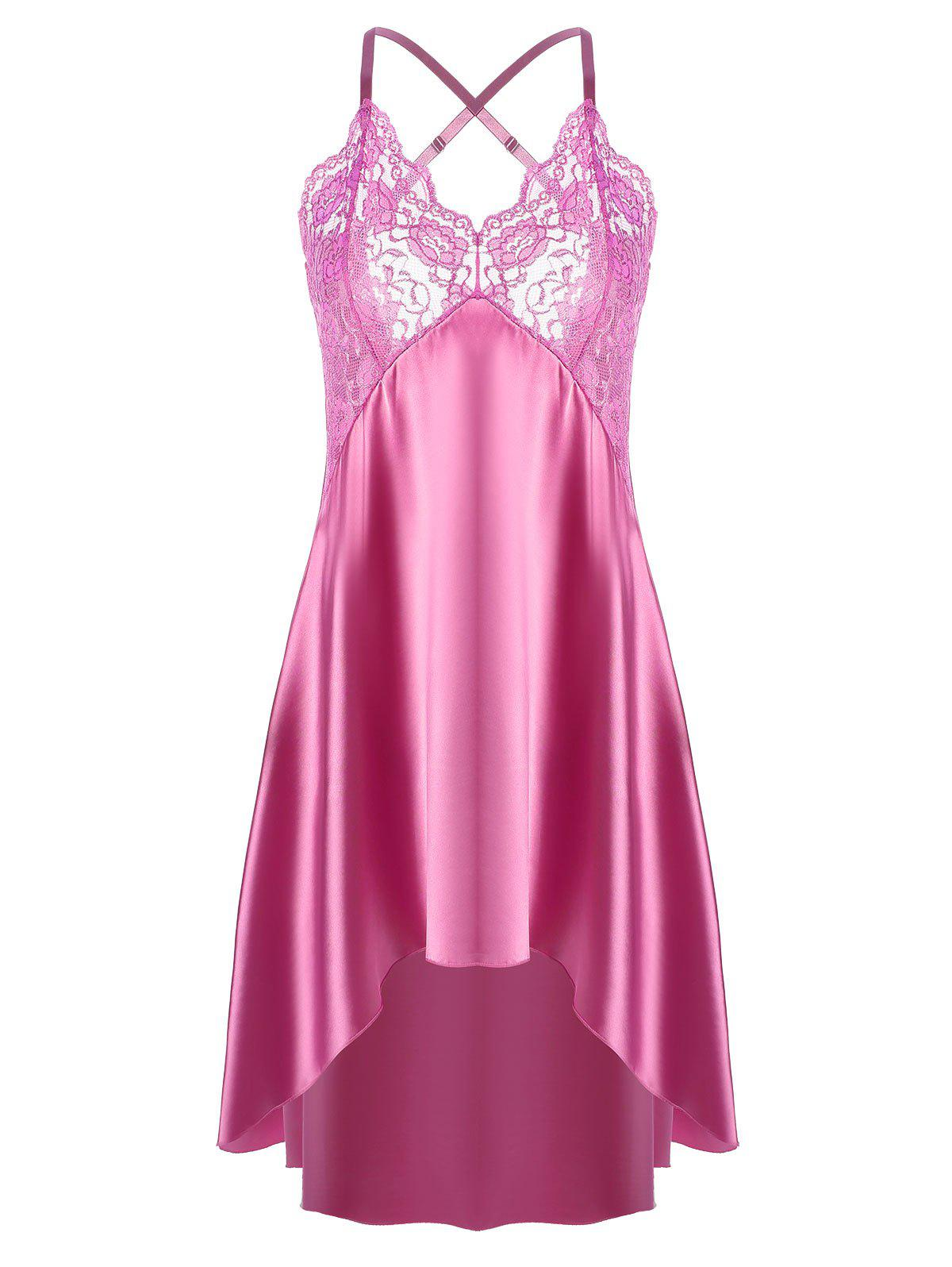 Hot Asymmetric Crossback Lace Panel Satin Slip Babydoll Dress