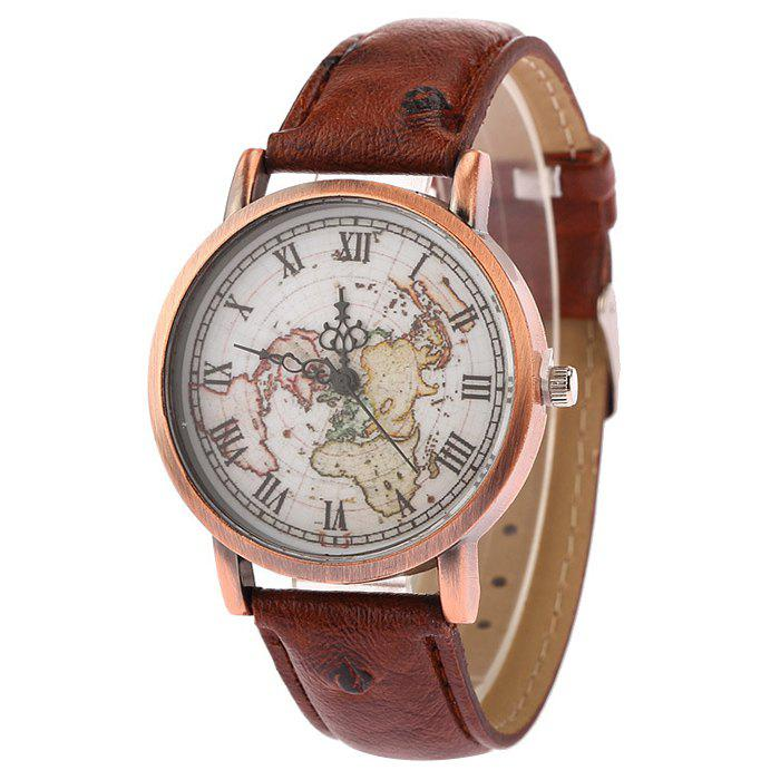 Faux Leather Strap World Map Face WatchJEWELRY<br><br>Color: BROWN; Gender: For Men; Style: Fashion; Type: Quartz watch; Index Dial: Analog; Case material: Alloy; Band material: PU Leather; Movement: Quartz; Dial Shape: Round; Water-Proof: No; Case Thickness(MM): 8mm; Dial Diameter: 4cm; Band Length(CM): 24cm; Band Width(CM): 2cm; Package Contents: 1 x Watch;