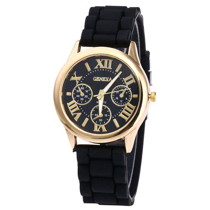 Roman Numeral Silicone Strap Quartz WatchJEWELRY<br><br>Color: BLACK; Gender: For Women; Style: Fashion; Type: Quartz watch; Index Dial: Analog; Case material: Alloy; Band material: Silica Gel; Movement: Quartz; Dial Shape: Round; Water-Proof: No; Case Thickness(MM): 10mm; Dial Diameter: 3.9cm; Band Length(CM): 24.5cm; Band Width(CM): 2.0cm; Package Contents: 1 x Watch;