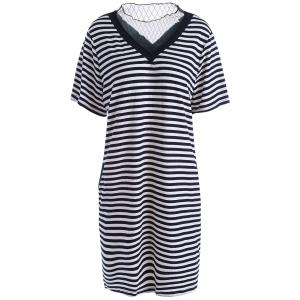 Voile Panel Plus Size Stripe Knit T-shirt Dress - Black - 4xl