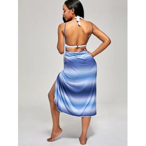 Ombre Wrap Cover Up Dress - Bleu TAILLE MOYENNE