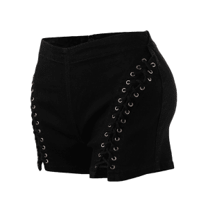 Lace Up High Waisted Denim Shorts - BLACK M