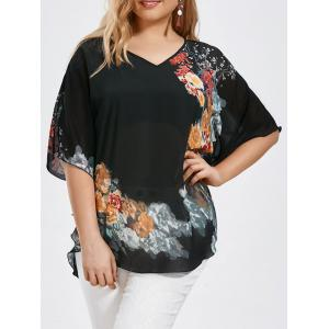 Plus Size Butterfly Sleeve Floral Blouse - Black - 4xl