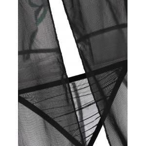 Mesh See Through Cami Slit Babydoll - Noir TAILLE MOYENNE