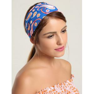Paisley Pattern Wide Headband - Blue