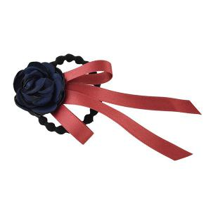 Ribbon Rose Flower Elastic Hair Band - Blue
