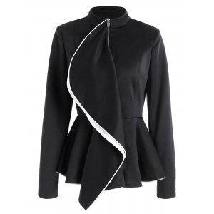 Ruffles Color Block Zip Up Peplum Jacket - Black - 2xl