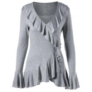 Flare Sleeve Ruffle Trim Top - Light Grey - Xl