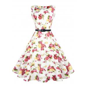 Sleeveless Floral Vintage Dress with Belt