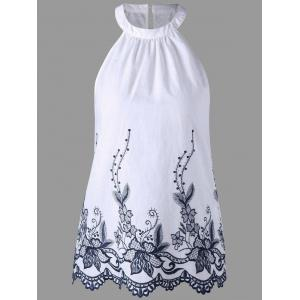 Sleeveless Embroidery Scalloped Edge Blouse - White - L
