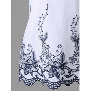 Sleeveless Embroidery Scalloped Edge Blouse -
