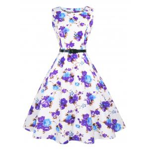 Sleeveless Floral Retro Dress