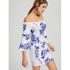 Printed Bodycon Off The Shoulder Dress - WHITE M