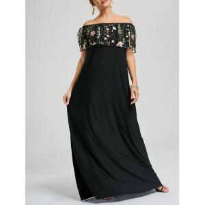 Embroidered Off Shoulder Floor Length Formal Prom Dress - Black - Xl