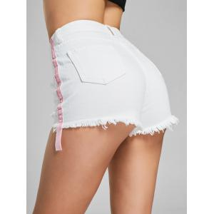 Velvet Panel Ripped Denim Shorts - WHITE M
