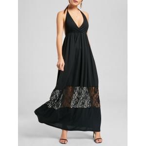 Open Back Maxi Halter Neck Flowy Dress - Black - Xl