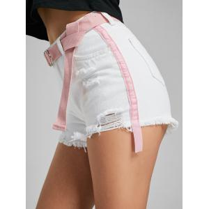 Velvet Panel Ripped Denim Shorts