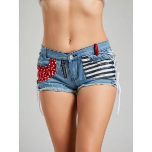 Zipper Star Striped Pocket Lace Up Shorts - Bleu S