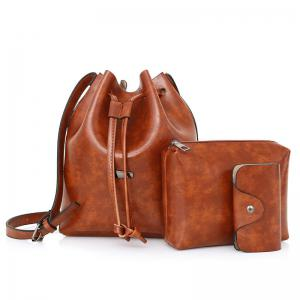 3 Pieces PU Leather Bucket Bag Set - Brown - 42