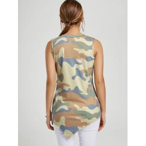 Asymmetric Floral Tunic Tank Top - CAMOUFLAGE S