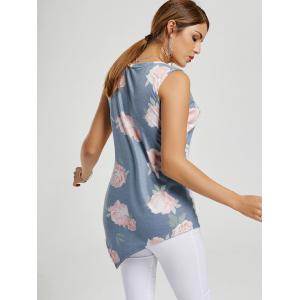 Asymmetric Floral Tunic Tank Top - BLUE GRAY S