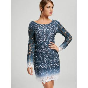 Lace Open Back Ombre Party Robe formelle - Bleu S