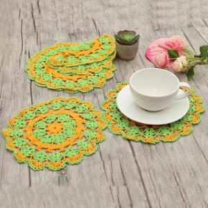 Round Shaped Handmade Crochet Napkins - Green+orange - Pattern A