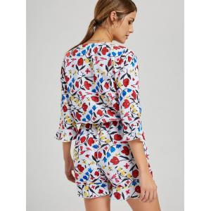 Casual Plunging Neck Floral Print Romper - Multicolore XL