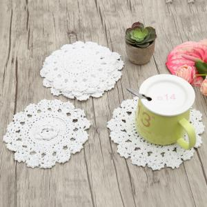 Round Flower Crochet Handmade Table Placemats  - White - W55 Inch * L78 Inch