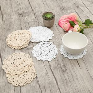10 PCS Home Decor Round Shaped Handmade Floral Crochet Doilies - White + Beige - Pattern D