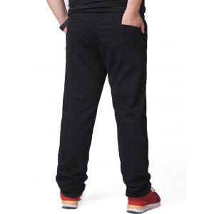 Zipper Fly Plus Size Chino Pants - Noir 48