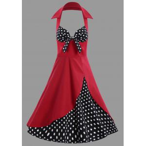 Polka Dot Halter Vintage Plus Size Dress