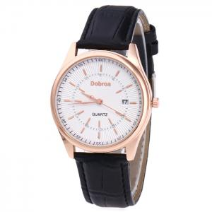 Faux Leather Strap Date Rhinestone Quartz Watch