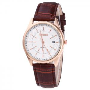 Faux Leather Strap Date Rhinestone Quartz Watch - Brown