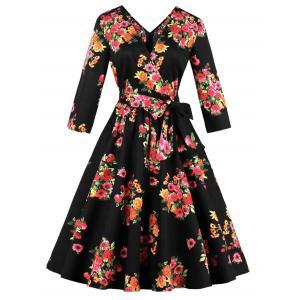 Plus Size Floral A Line Midi Dress