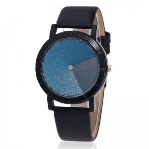 Faux Leather Strap Ombre Glitter Watch - Black