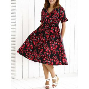 V Neck Plus Size Midi Floral Dress