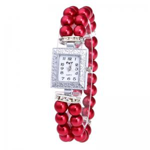 Rectangle Number Faux Pearl Bracelet Watch - Red - W16 Inch * L47 Inch