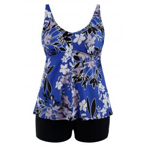 Padded High Waisted Floral Plus Size Bathing Suit - Blue - 4xl