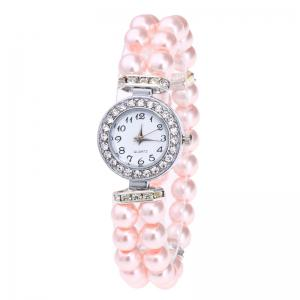Rhinestone Number Faux Pearl Bracelet Watch