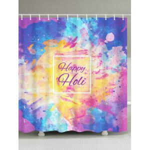 Waterproof Ink Painting Happy Holi Shower Curtain - Colorful - W71 Inch * L79 Inch