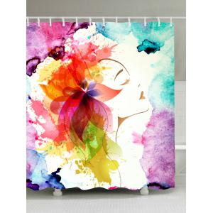 Watercolor Floral Girl Waterproof Fabric Shower Curtain