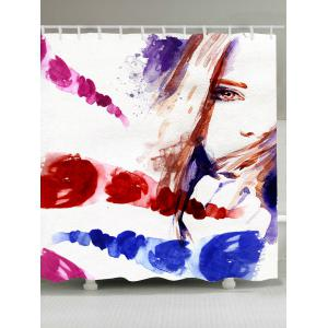 Watercolor Girl Waterproof Fabric Shower Curtain