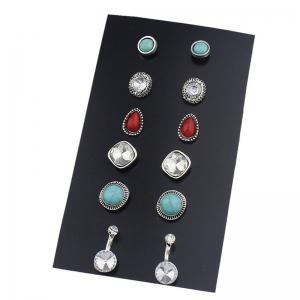 Faux Turquoise Gem Rhinestone Earring Set - Colormix