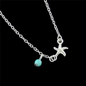Chandelle Faux Turquoise Starfish Anklet - Argent