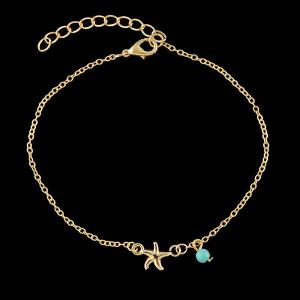 Chandelle Faux Turquoise Starfish Anklet - Or