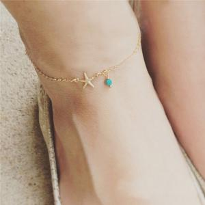 Charm Faux Turquoise Starfish Anklet - Golden