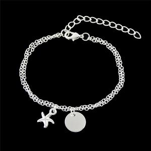 Starfish Disc Chain Charm Bracelet - Silver - One Size