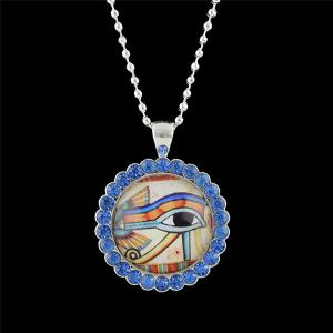 Rhinestoned Eye Round Pendant Necklace - Blue